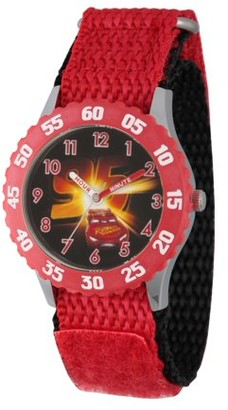 Disney Cars 3 Lightning McQueen Boys' Stainless Steel Time Teacher Watch, Red Bezel, Red Hook and Loop Nylon Strap with Black Backing
