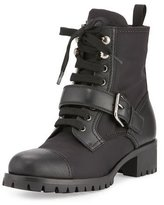 Prada Leather Nylon Hiking Boot, Black (Nero)
