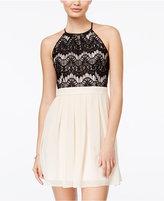 B. Darlin Juniors' Lace Pleated A-Line Dress