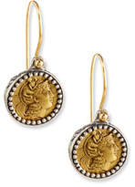 Konstantino Carved Bronze Athena Coin Earrings