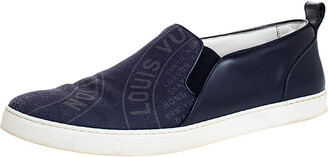 Louis Vuitton Navy Blue Canvas and Leather Slip-On Sneakers Size 42.5
