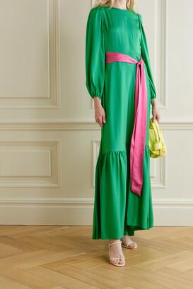 Diane von Furstenberg - Amabel Belted Silk-blend Crepe Maxi Dress - Green