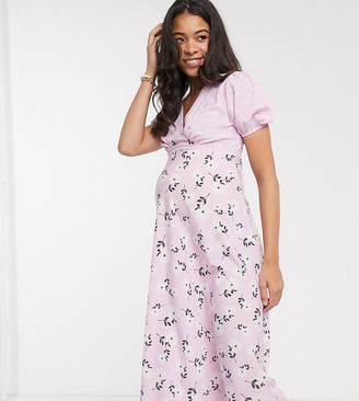 Influence Maternity floral midi tea dress with mixed lilac floral print