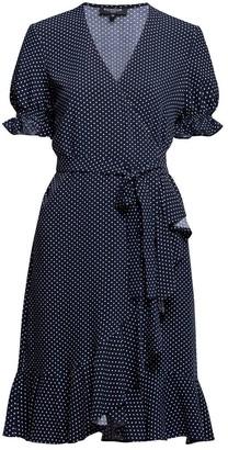 Myla Ruffled Wrap Dress With Short Sleeves In Polka Dot Print