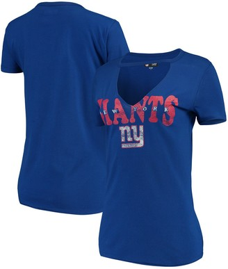 New Era Women's Royal New York Giants Baby Jersey V-Neck Choker T-Shirt