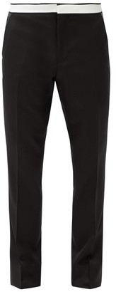 Burberry Leather-panelled Wool-crepe Trousers - Black
