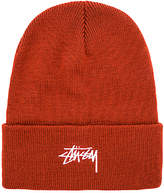 Stussy Stock FA17 Cuff Beanie in Rust.