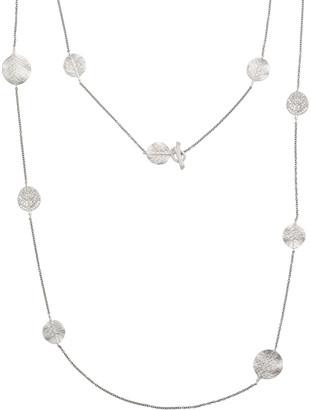 "Michael Aram Botanical Leaf Long Diamond Station Rhodium Necklace, 42""L"