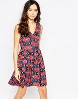 Iska Wrap Front Dress in Geo-Tribal Print