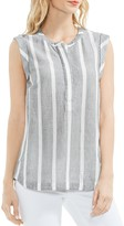 Vince Camuto Striped Sleeveless Henley Top