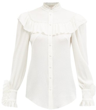 The Vampire's Wife The Frill Seeker Hammered Silk-blend Blouse - Ivory