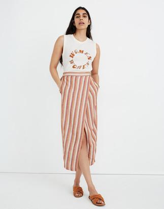 Madewell Pull-On Wrap Midi Skirt in Stripe