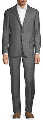 Hickey Freeman Classic Fit Milburn IIM Series Checker Wool Suit