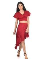 AX Paris Red Satin Frill Skirt