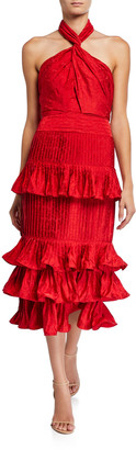 Johanna Ortiz Eccentric Vibes Tiered Ruffled Halter Dress