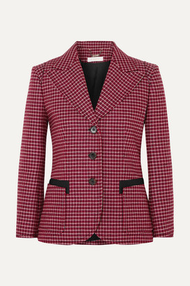 Chloé Canvas-trimmed Checked Wool-blend Blazer - Red