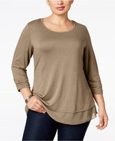 Style&Co. Style & Co. Plus Size Chiffon-Hem Top, Only at Macy's