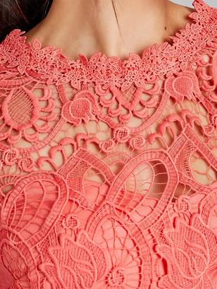 Paper Dolls Crochet Mini Shift Dress - Coral