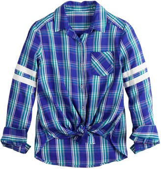 So Girls 6-16 & Plus Size One-Pocket Button-Front Shirt