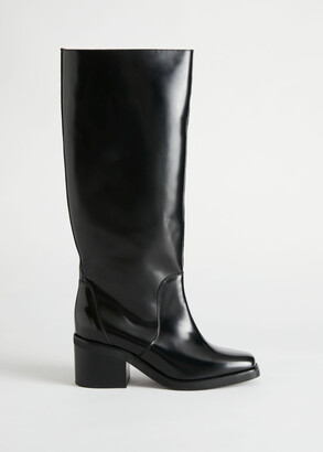 And other stories Square Toe Knee High Leather Boots