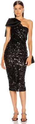 Dolce & Gabbana One Shoulder Midi Dress in Black | FWRD