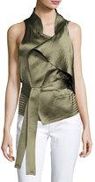 Halston Sleeveless Draped Satin Waistcoat, Green