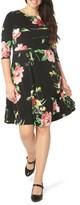 Evans Plus Size Women's Floral Skater Dress