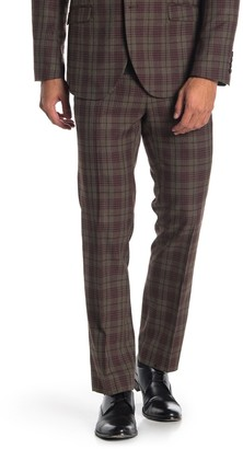 Paisley & Gray Downing Olive/Red Plaid Slim Fit Suit Pants
