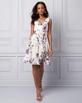 Le Château Floral Print Chiffon Ruffle Cocktail Dress