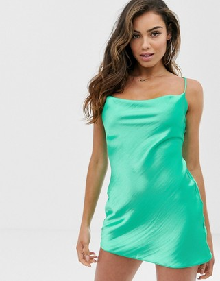 Asos Design DESIGN cami mini slip dress in high shine satin with lace up back-Green