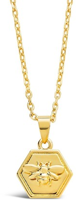 Sterling Forever 14K Gold Vermeil Engraved Bee Hexagon Pendant Necklace
