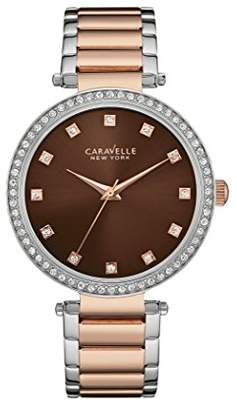 Caravelle New York Rose Gold T Bar Women's Quartz Watch with Brown Dial Analogue Display and Two Tone Stainless Steel Rose Gold Plated Bracelet 45L152
