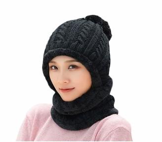 Dawwoti Women's Faux Fuzzy Fur Ribbed Hat Pompom Cuff Beanie with Scarf Knit Hat (Black One Size)