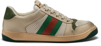 Gucci Screener Leather Low Top Trainers - Womens - Green White