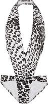 Norma Kamali Andy cutout leopard-print swimsuit