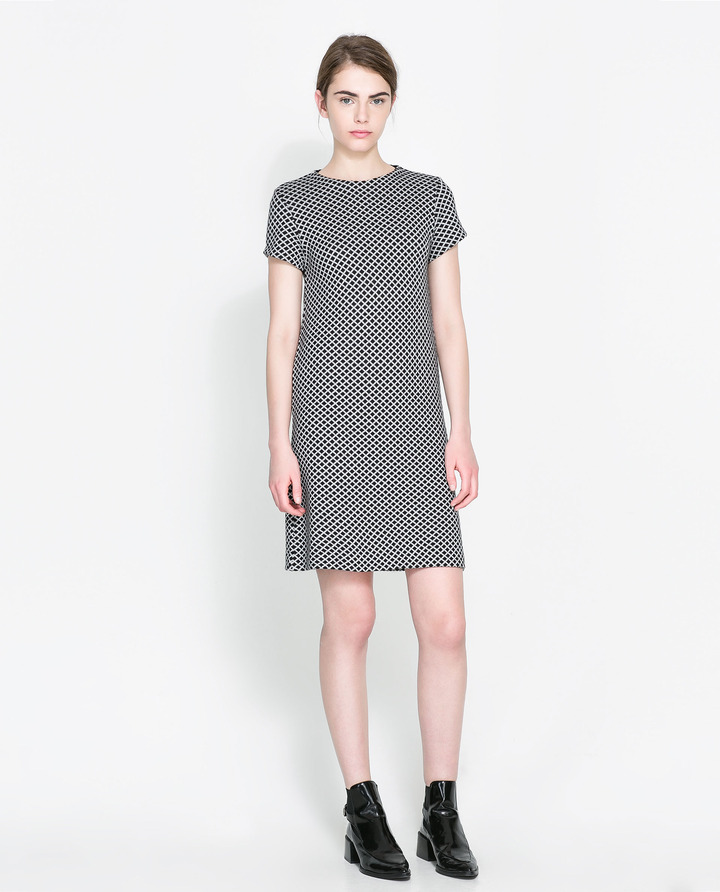 Zara Jacquard Dress With Zip At The Back