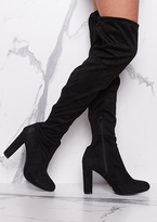 Missy Empire Lolita Black Suede Thigh High Heeled Boots