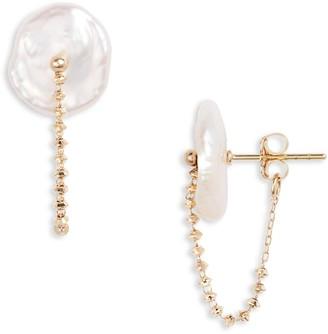 Poppy Finch Pearl Chain Earrings