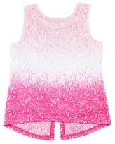 Design History Girls' Dip Dyed Lace Tank - Little Kid