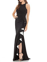 Carmen Marc Valvo Halter Ruffle Down Front Gown