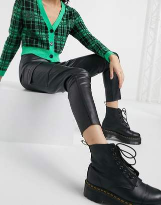 Noisy May pu leggings with utility pockets in black