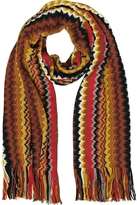 Missoni Brown and Yellow Zig Zag Wool Blend Men's Long Scarf
