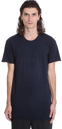 Rick Owens Basic Ss Tee T-shirt In Blue Cotton