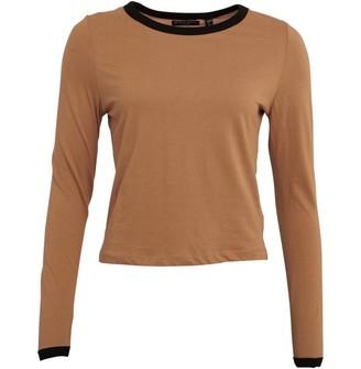 Brave Soul Womens Eloise Long Sleeve T-Shirt Camel/Black