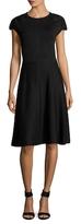 Carolina Herrera Wool Lace Cap Sleeve Flared Dress