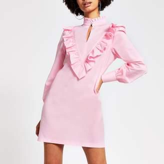 River Island Womens Pink frill high neck long sleeve mini dress