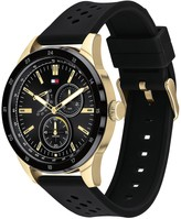 Tommy Hilfiger Tommy Hilfiger Austin Black and Gold Detail Multi Dial Black Silicone Strap Mens Watch