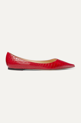 Jimmy Choo Love Croc-effect Leather Point-toe Flats - Red