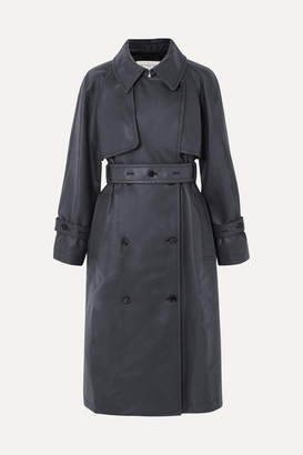 Golden Goose Masami Belted Faux Leather Trench Coat - Navy
