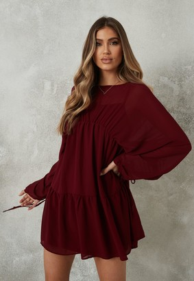 Missguided Burgundy Sheer Mesh Ruched Sleeve Smock Dress